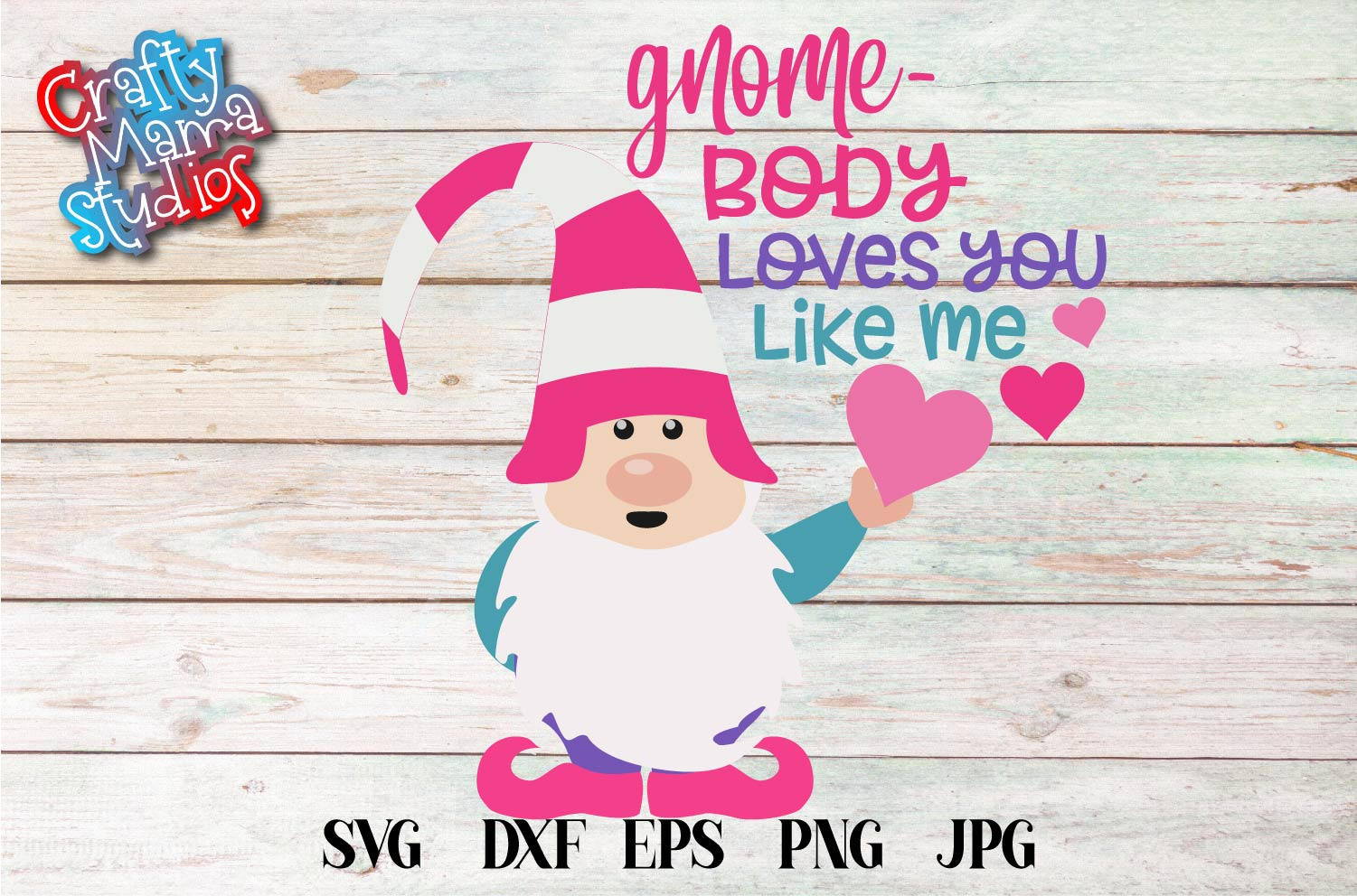 Valentine's Day SVG Valentine Gnome Body Loves You Like Me example image 2