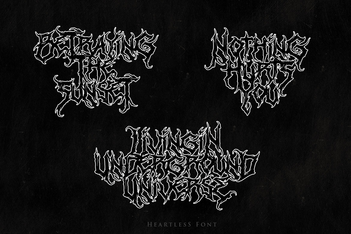 Heartless - Most Wanted Deathmetal Font example image 5