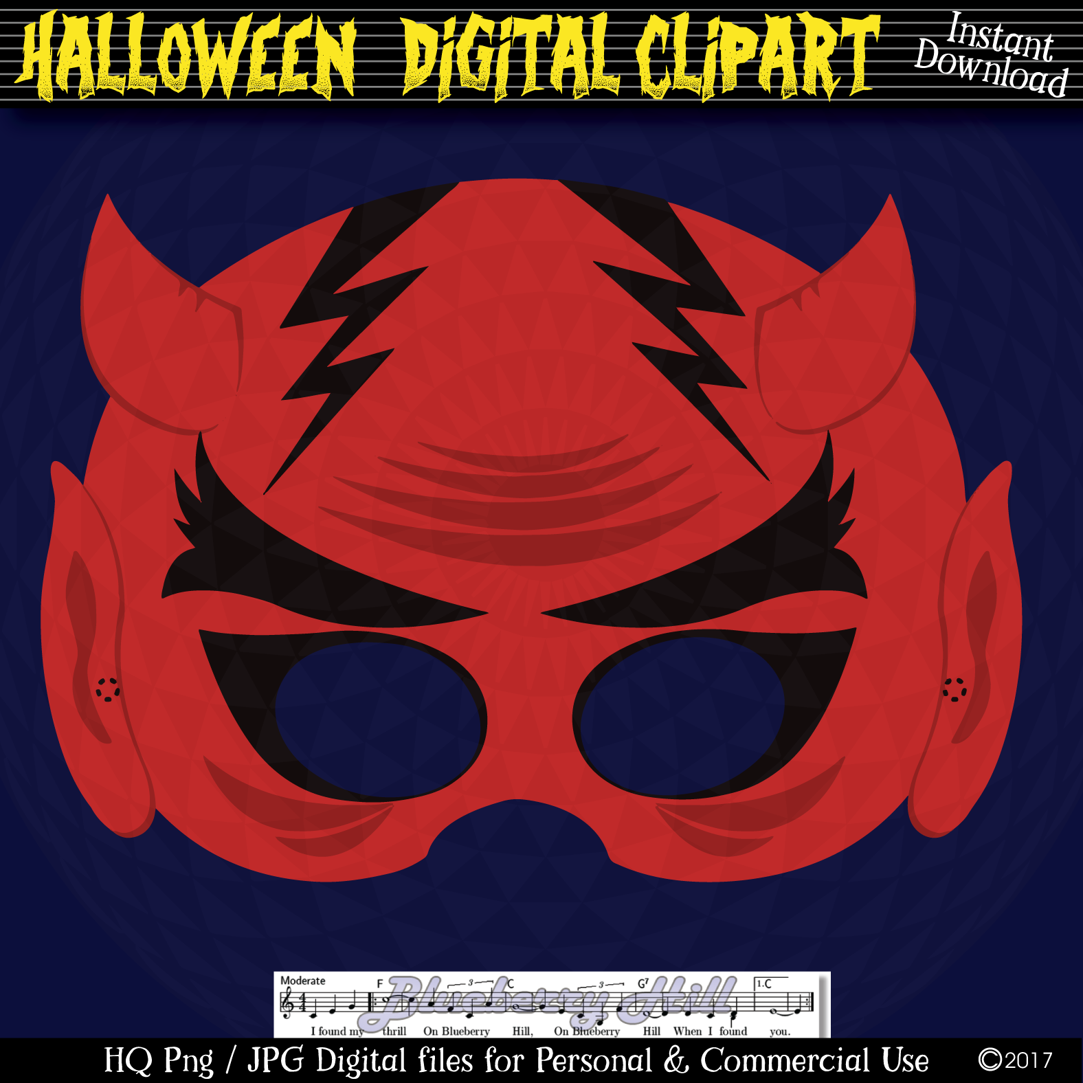 Halloween Party Masks printable, DIY Halloween Digital Clip example image 3