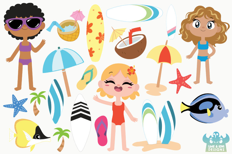 Tropical Surfer Girls Clipart, Instant Download Vector Art example image 2