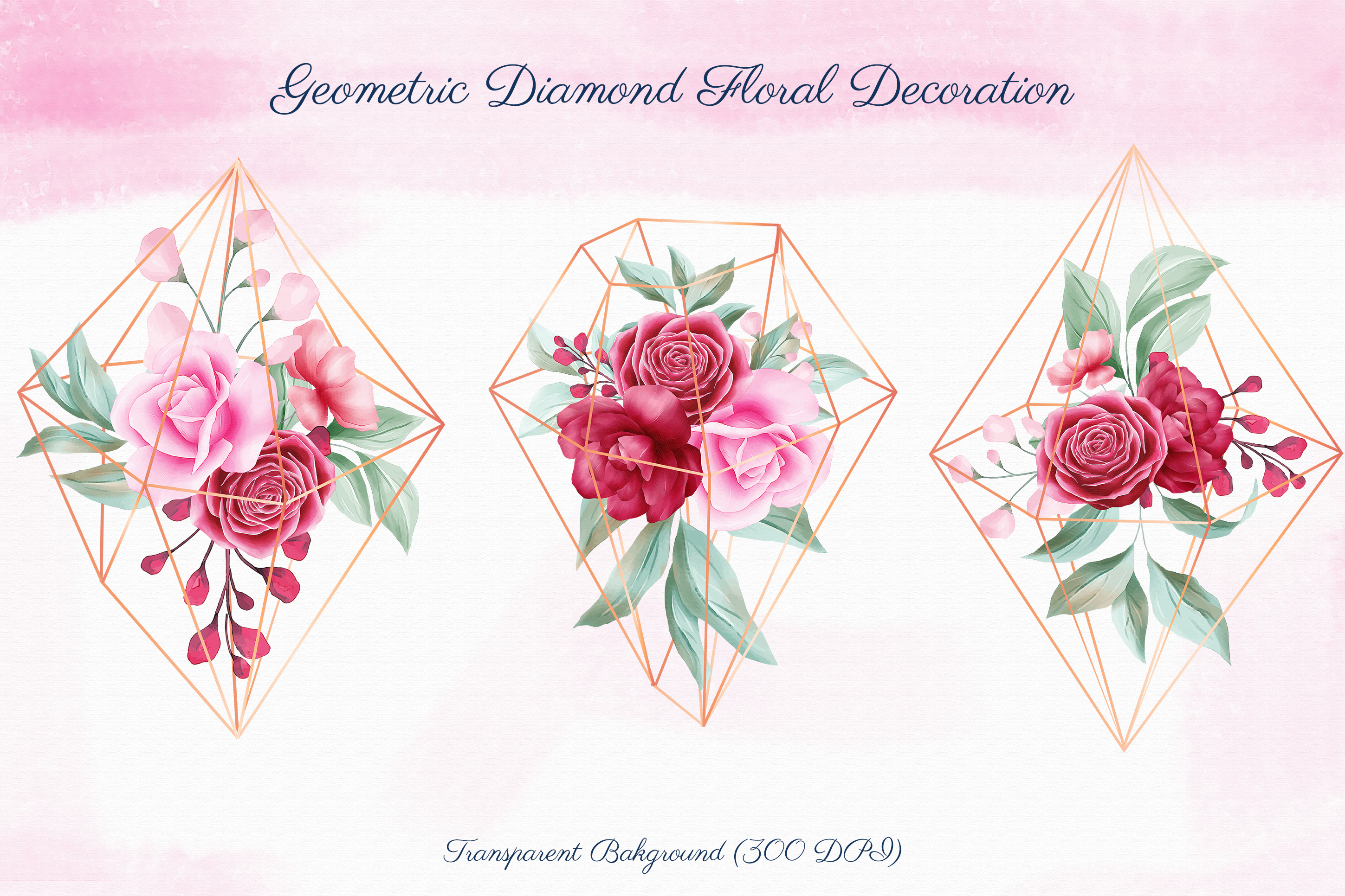 Romantic Watercolor Flowers Collection Bundle example image 3