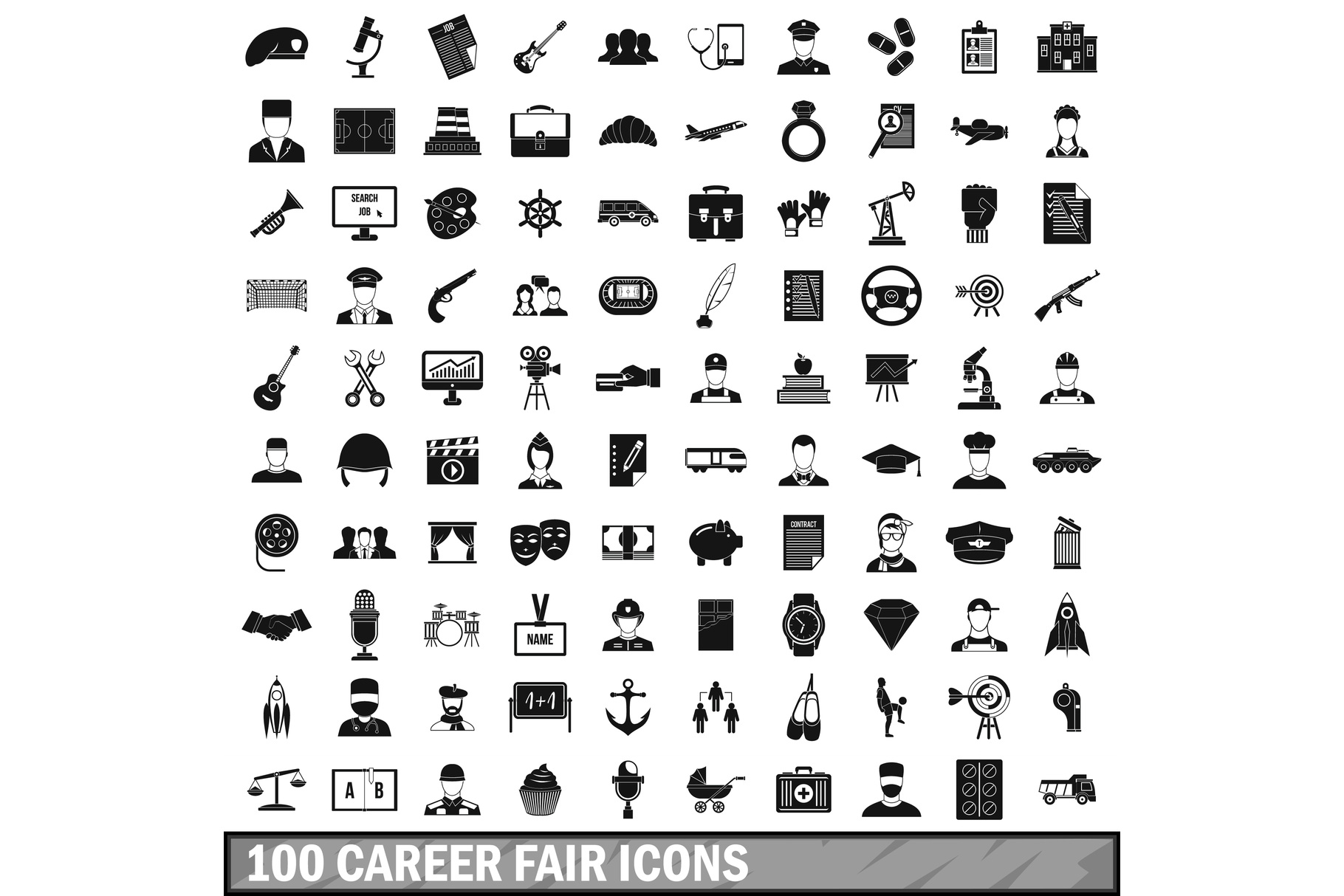 100 career fair icons set, simple style example image 1