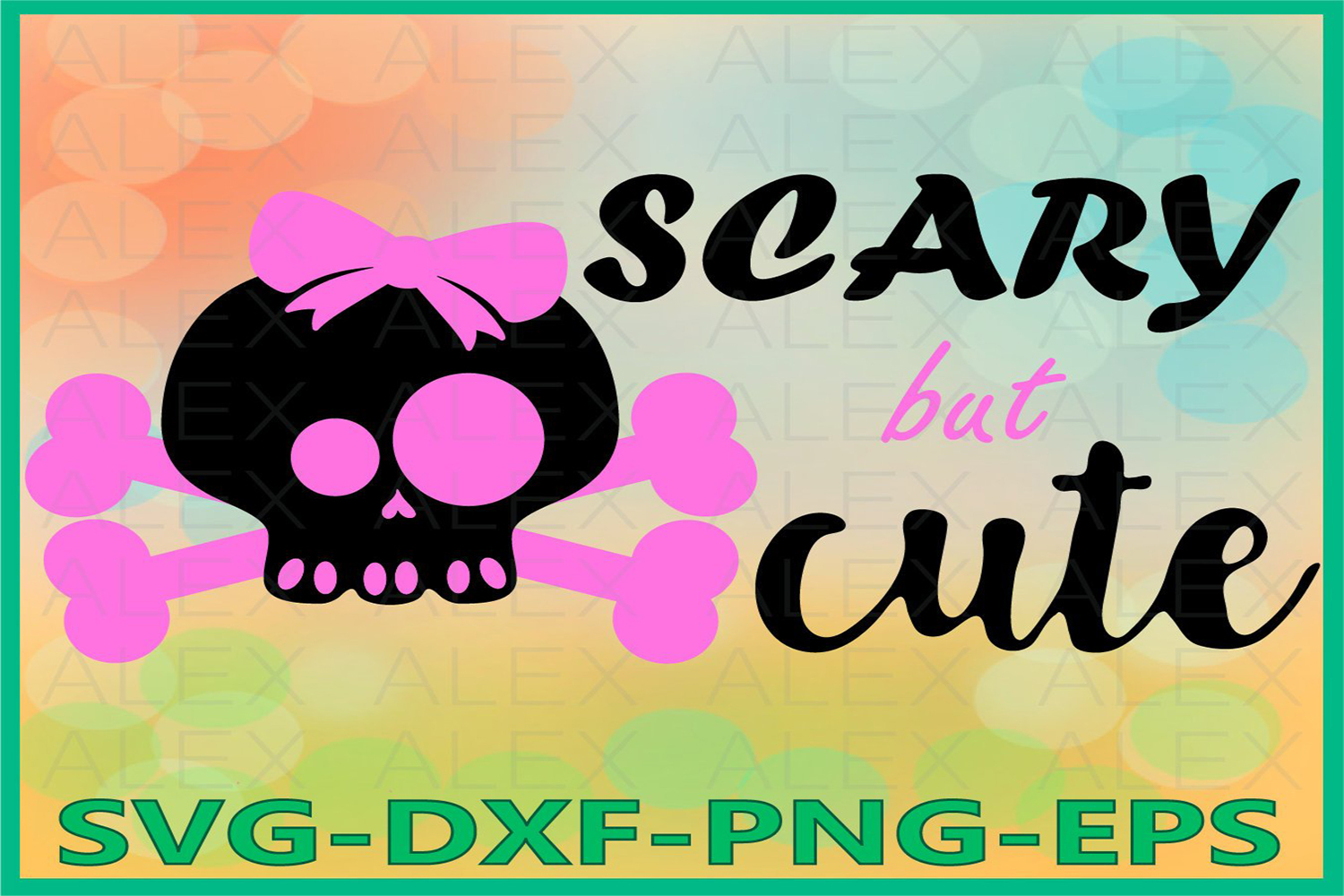 Scary But Cute SVG, Cute Skull Svg, Halloween, Girl Skull example image 1