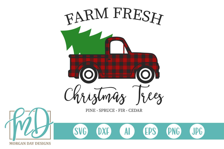 Farm Fresh Christmas Trees - Buffalo Plaid Vintage Truck SVG example image 2