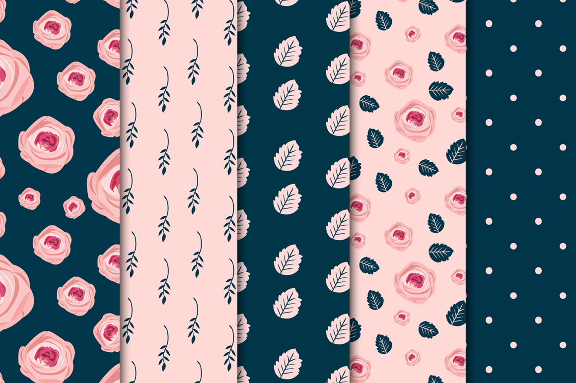 Navy-Pink Digital Papers example image 3