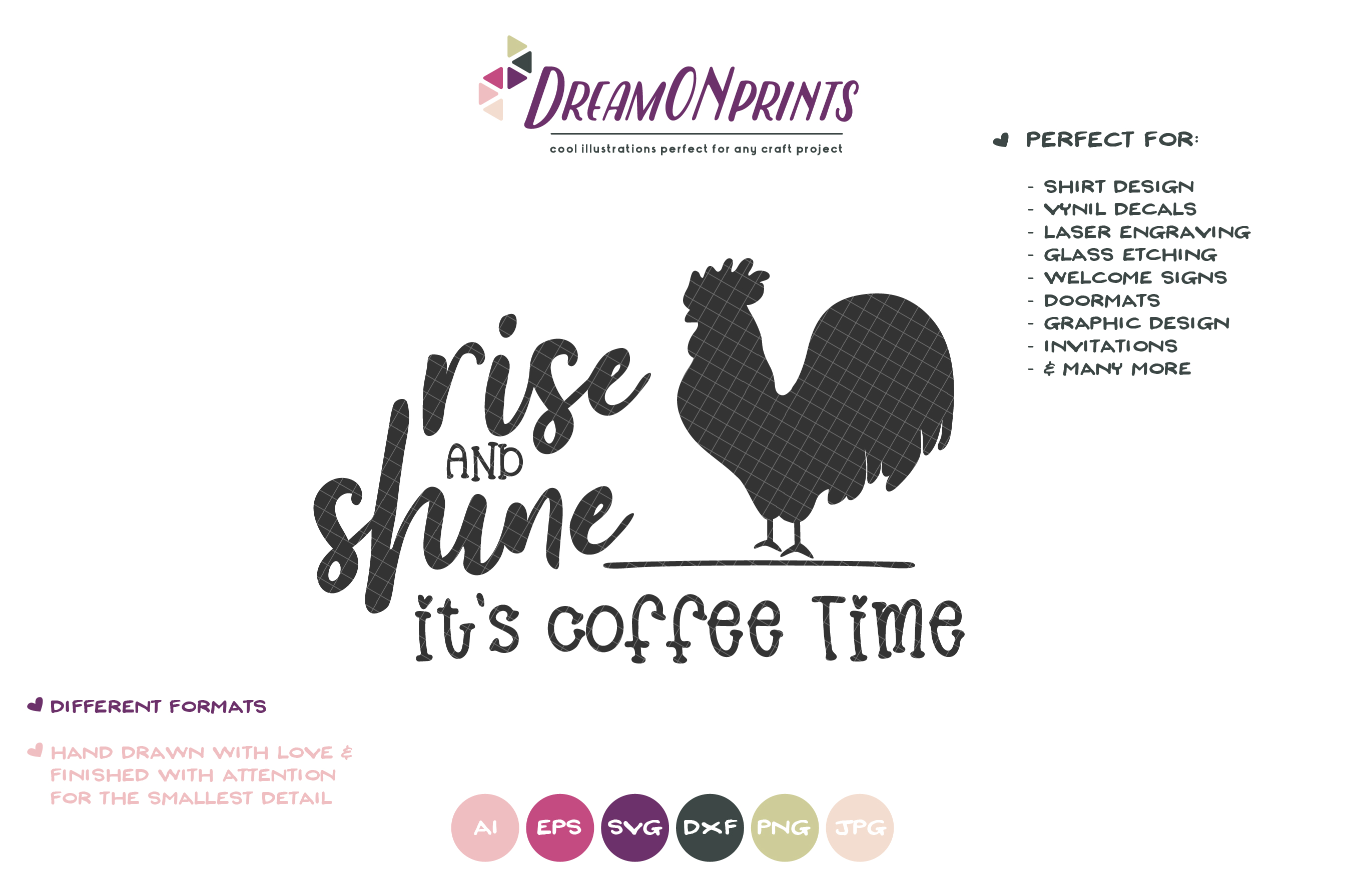 Rise and Shine It's Coffee Time SVG - Rooster Farm SVG example image 2