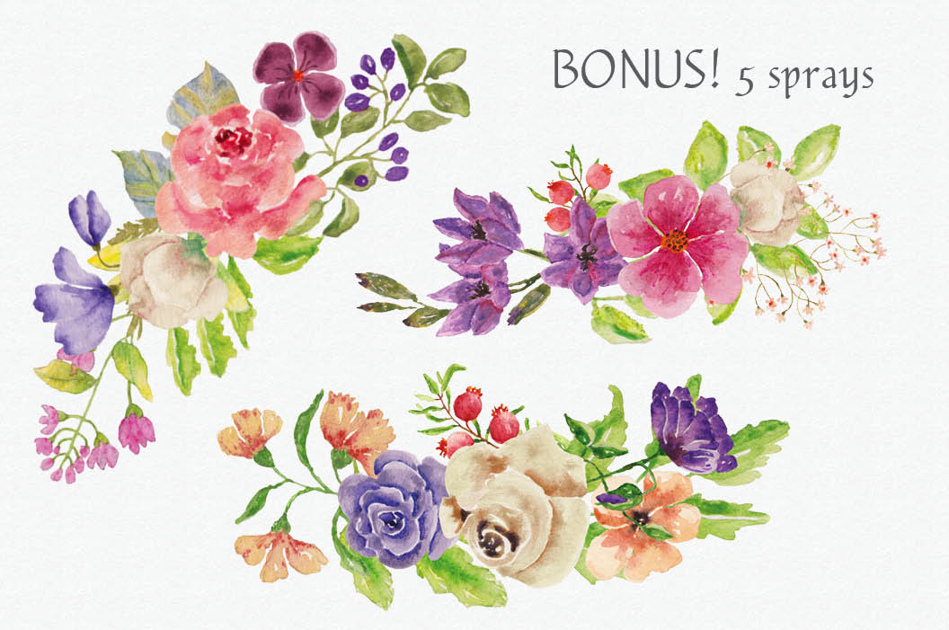 Watercolor wreath of mixed flowers example image 3