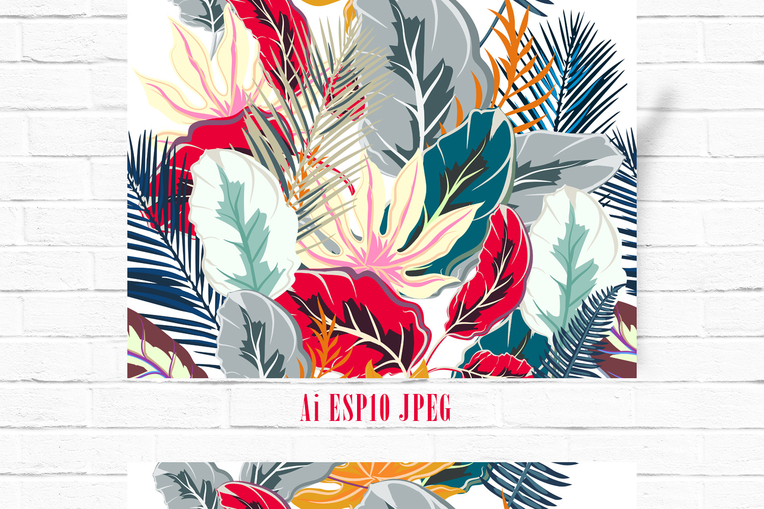 Palm leaves vector seamless pattern example image 1