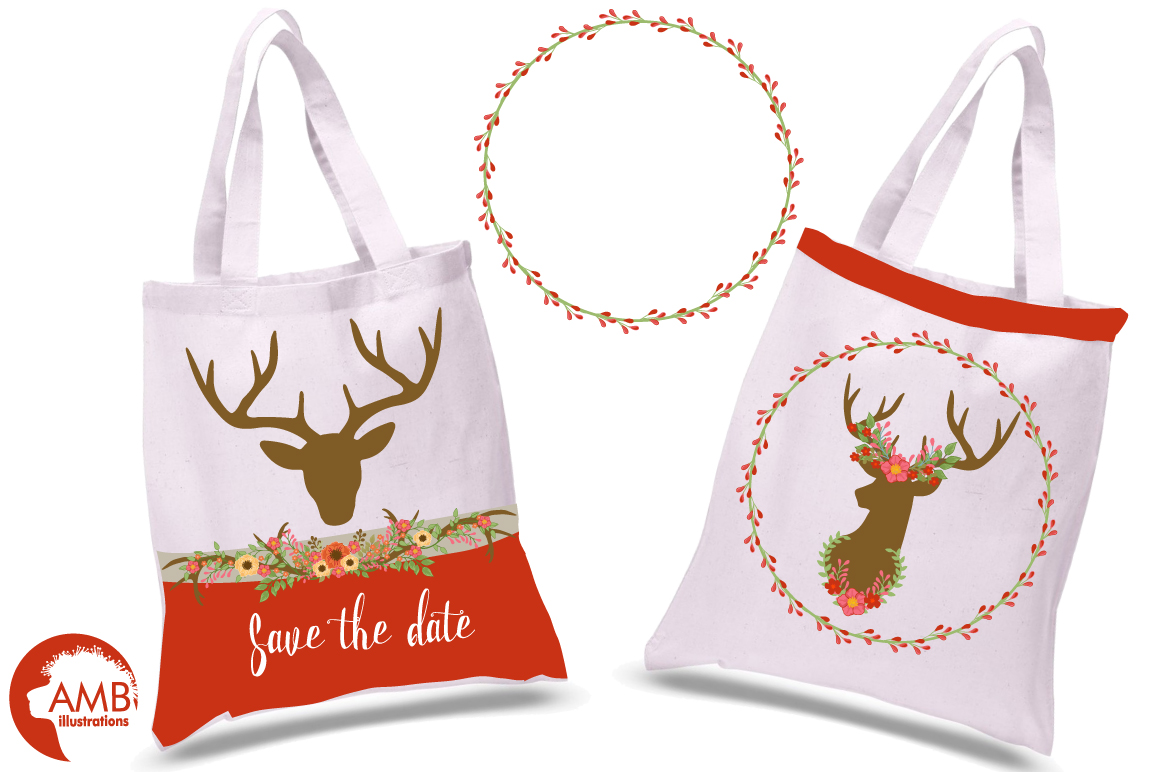 Autumn Antlers and Florals cliparts, graphics and illustrations AMB-1488 example image 3