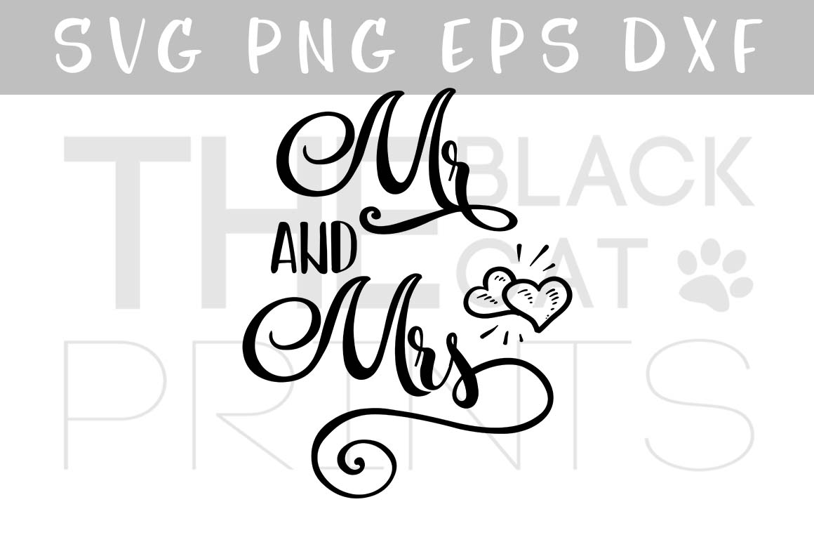 Mr and Mrs SVG Hearts SVG PNG EPS DXF, Wedding svg example image 1