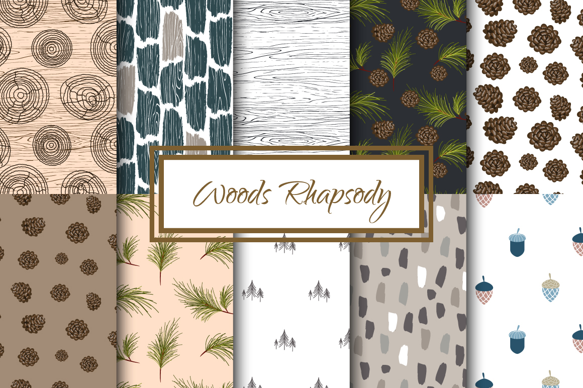 Woods Rhapsody Seamless Patterns example image 1