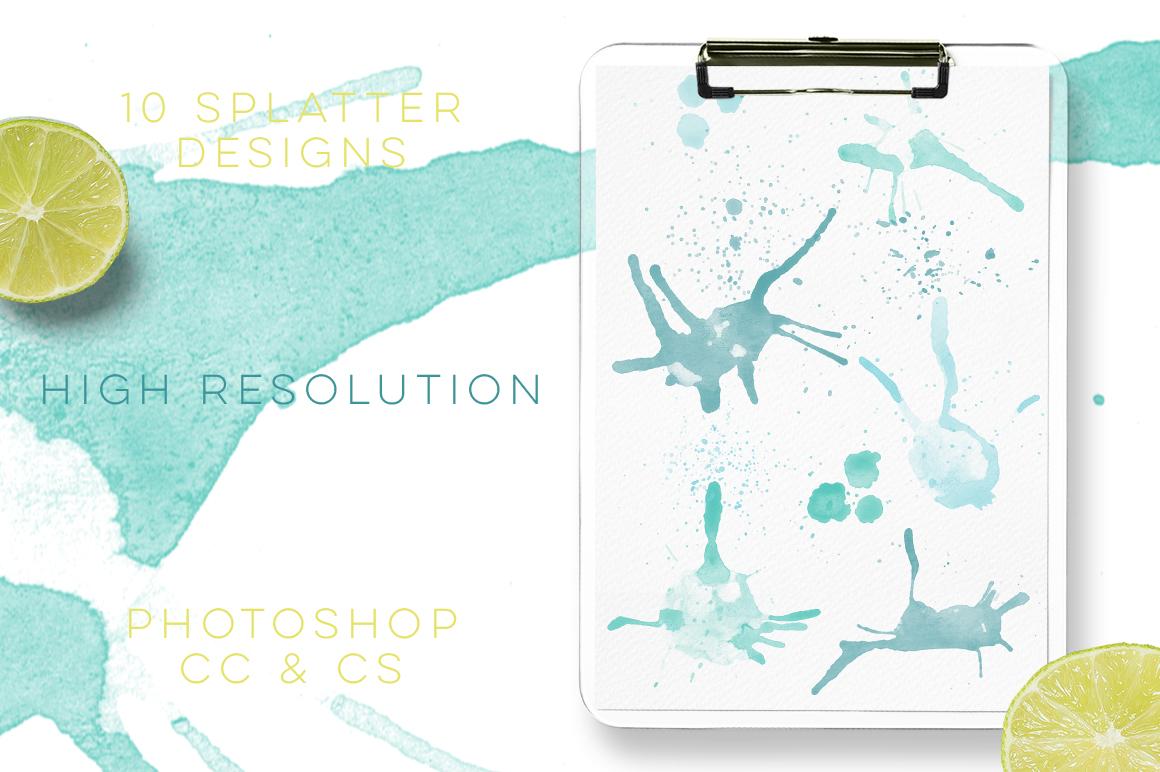 Watercolour Splatter Photoshop Brushes example image 4
