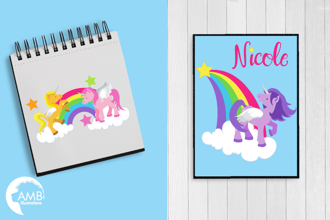 Magical Unicorns clipart, graphics and illustrations AMB-160 example image 5