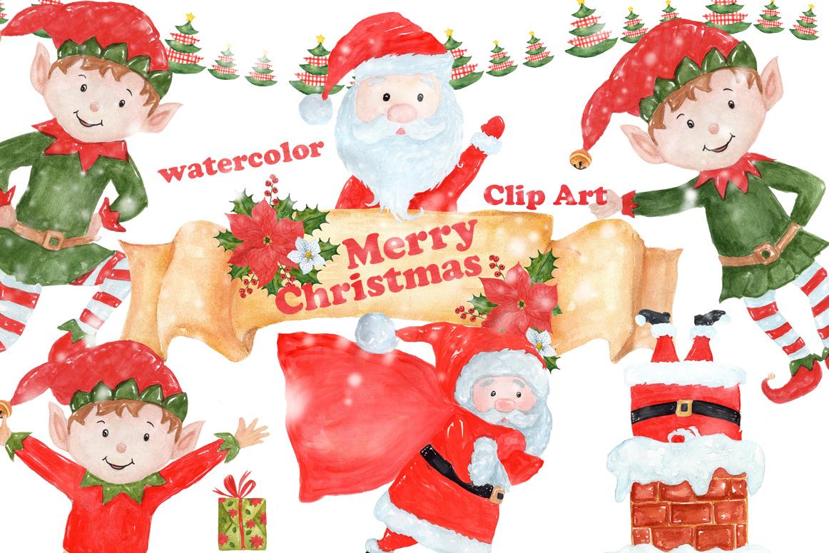 Bundle Watercolor Christmas Kids Clipart example image 6