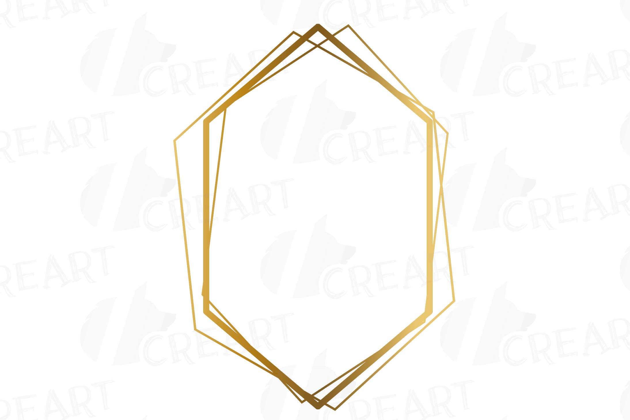 Elegant wedding geometric golden frames, lineal frames png example image 9