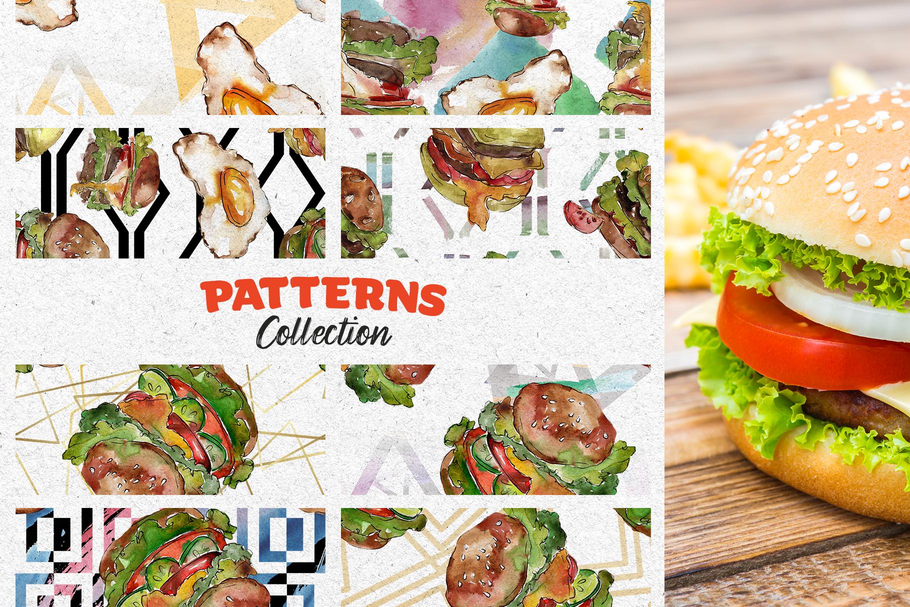Hamburger Watercolor png example image 6