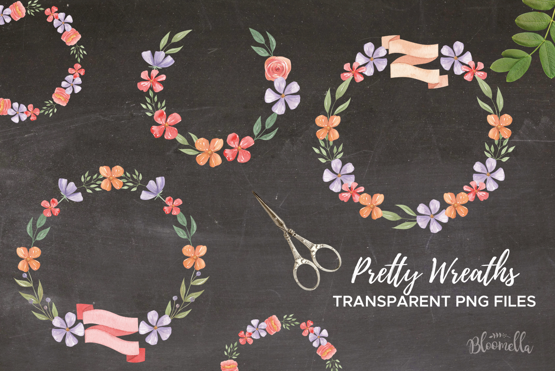Floss Wreaths Watercolor 8 Flowers Leaves Purple Banners example image 2