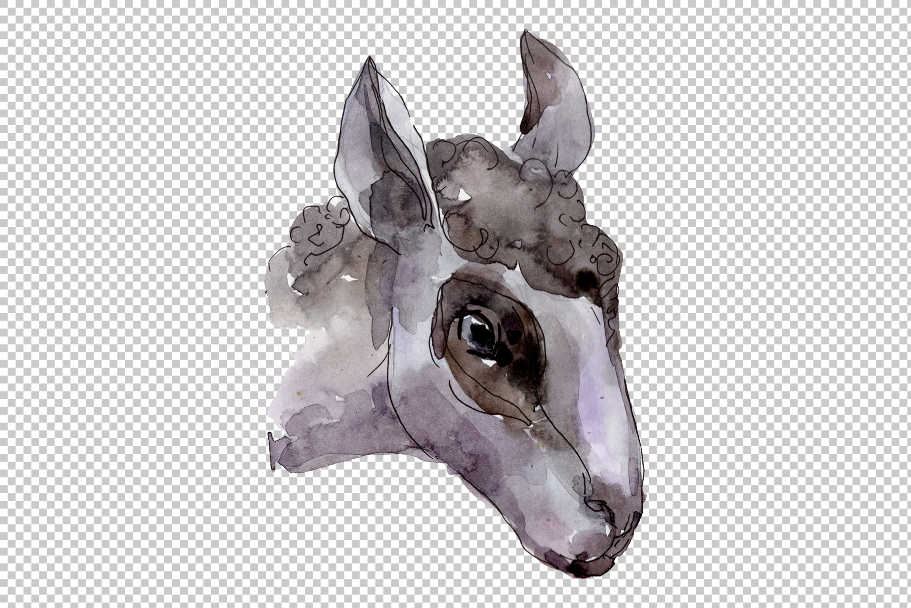 Farm animals Ram head Watercolor png example image 3