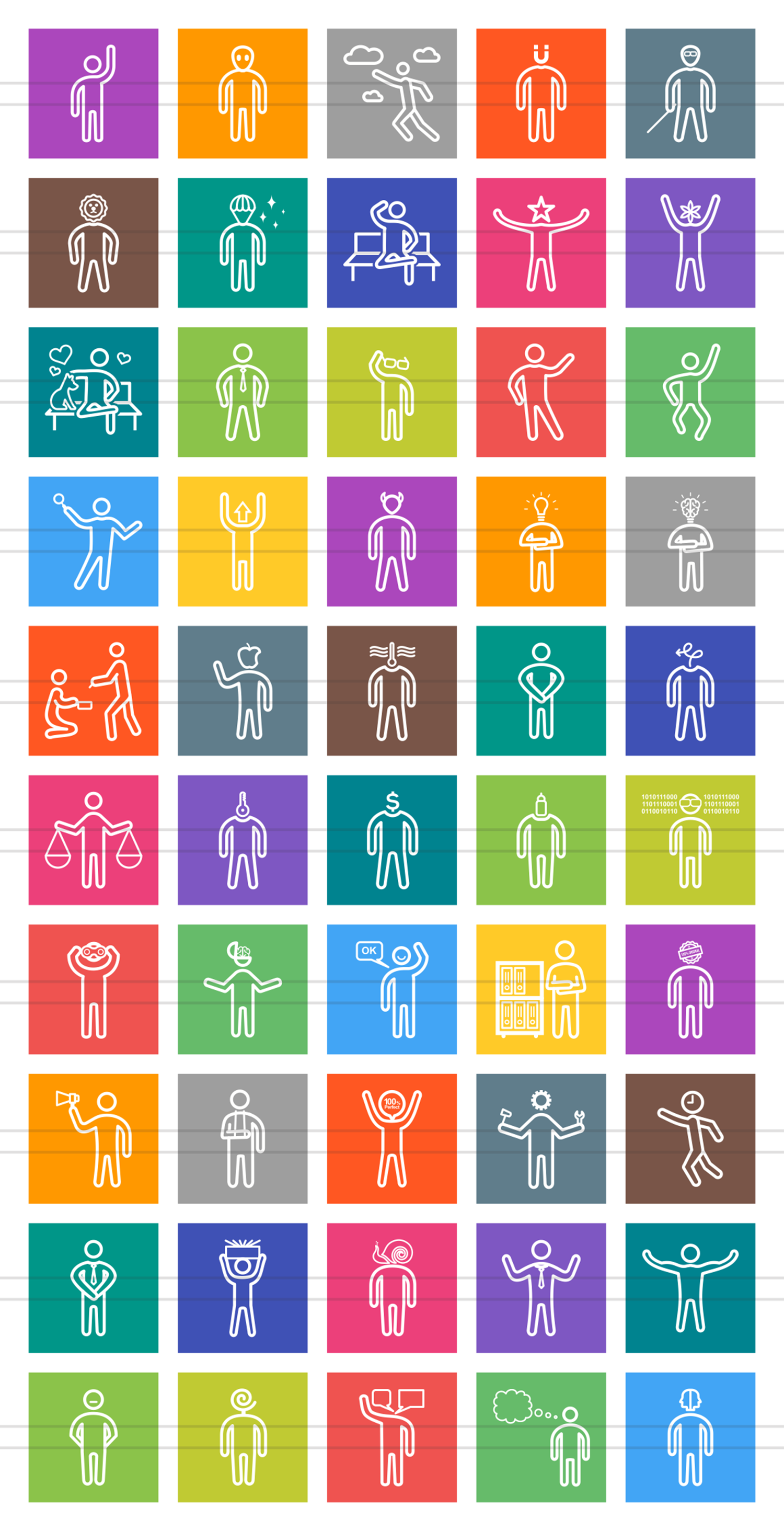 50 Personality Traits Line Multicolor B/G Icons example image 2