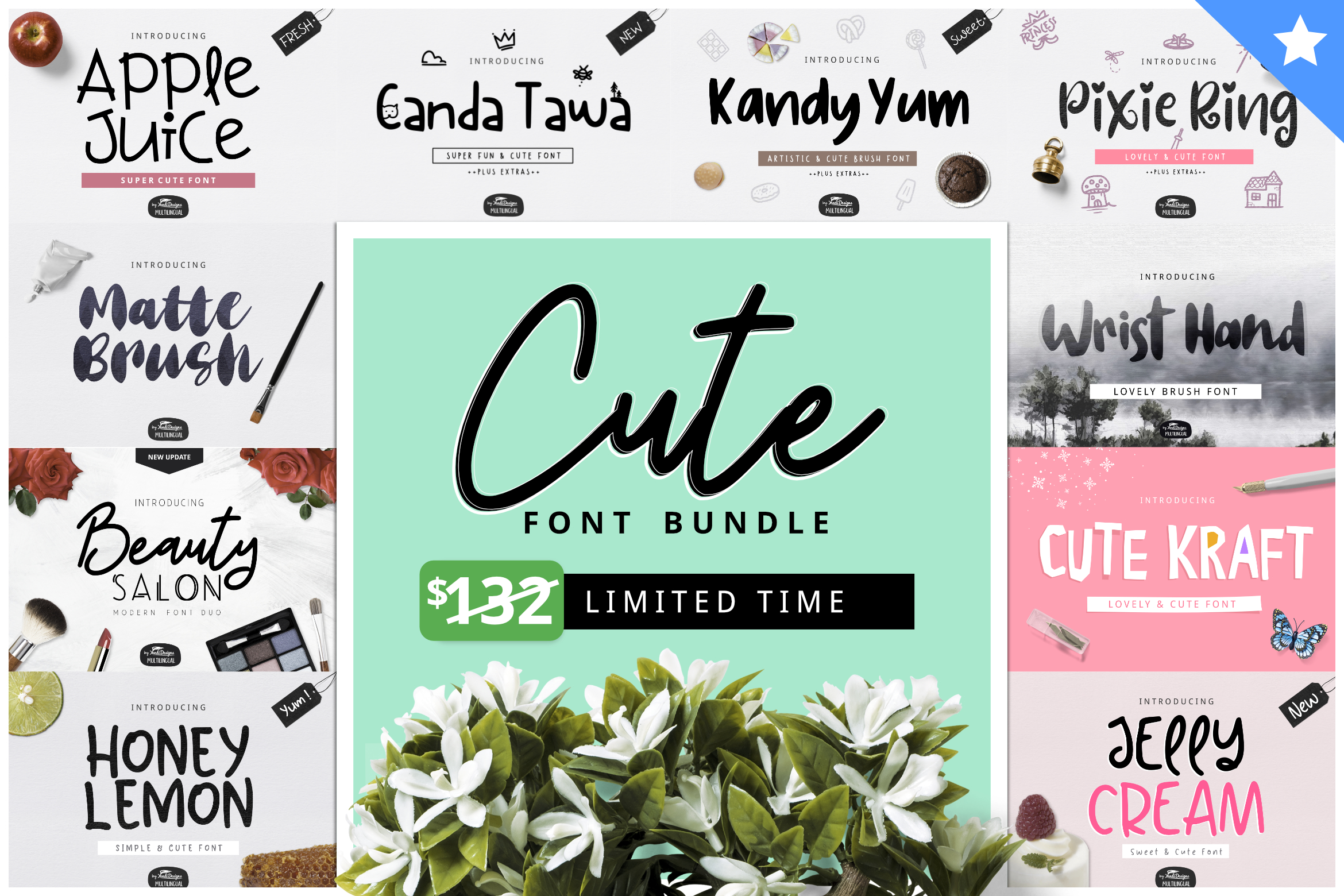 Cute Font Bundle by YandiDesigns example image 1