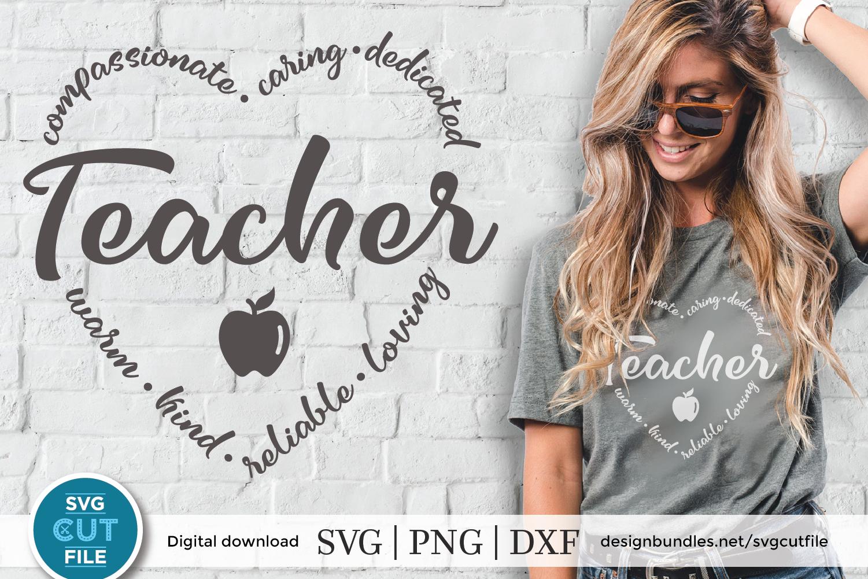 Teacher heart word Art - a Teacher appreciation week SVG example image 1