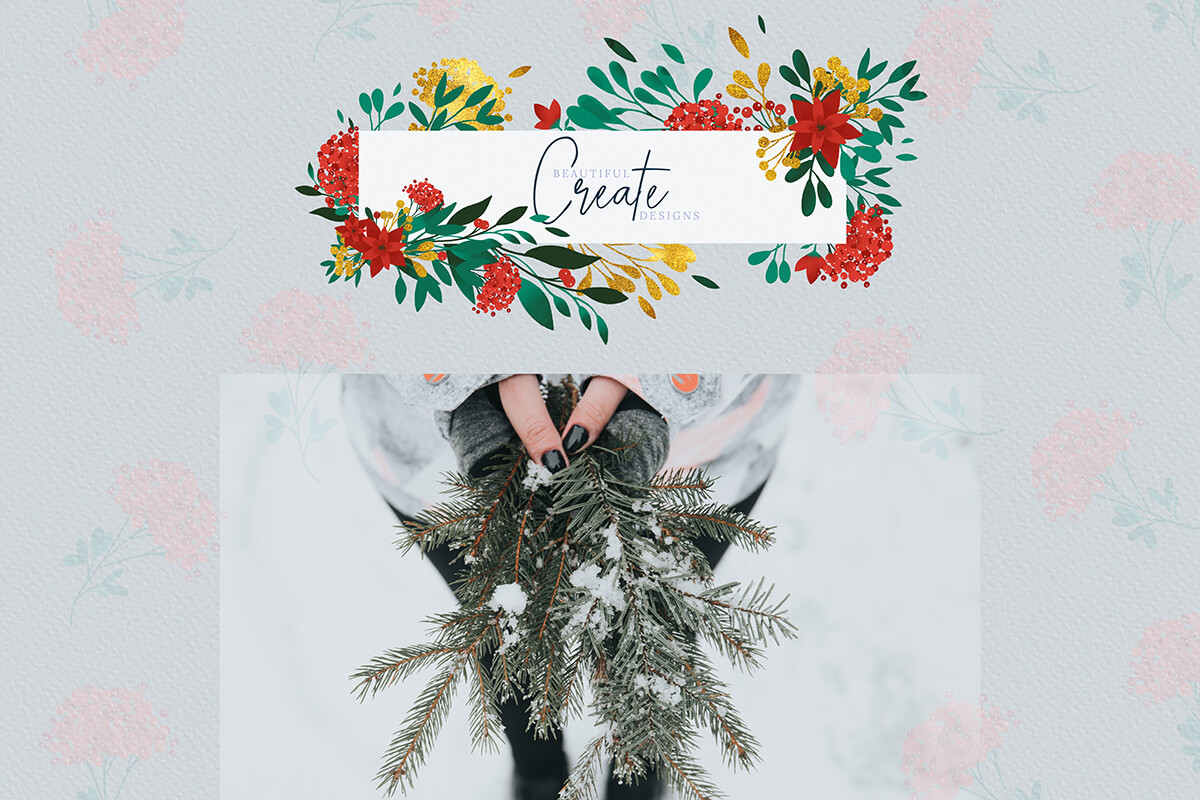 Christmas Watercolor Flowers Clipart Collection example image 7