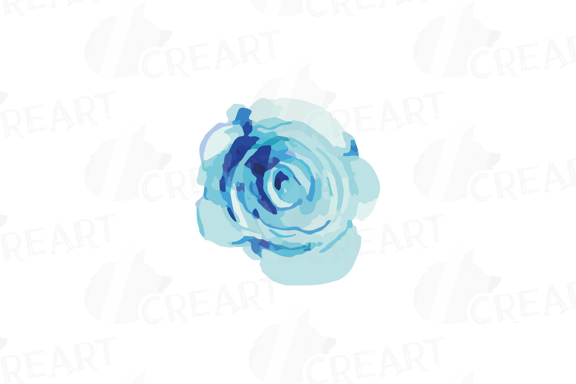 Watercolor Pink and Blue Roses and leafs clip art pack, png example image 8