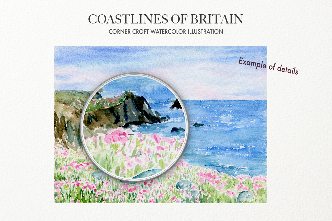 Watercolor Coast of Britain For Instant Download example image 5
