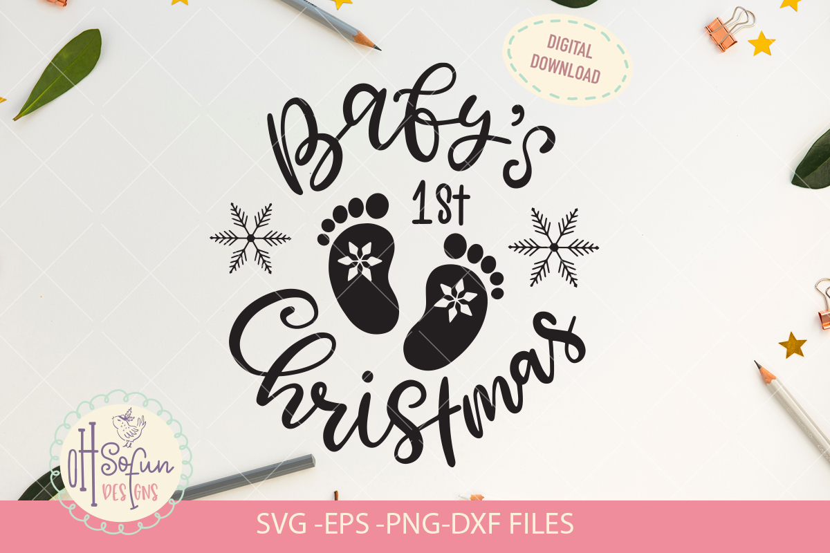 Baby's first christmas, hand lettering christmas SVG example image 1