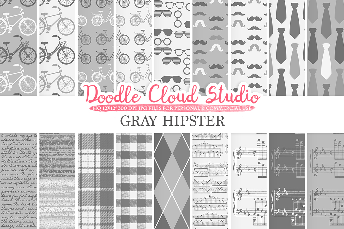 Grey Hipster digital paper, Vintage Father's day tie mustaches bikes music glasses plaid pattern Instant Download Personal & Commercial Use example image 1