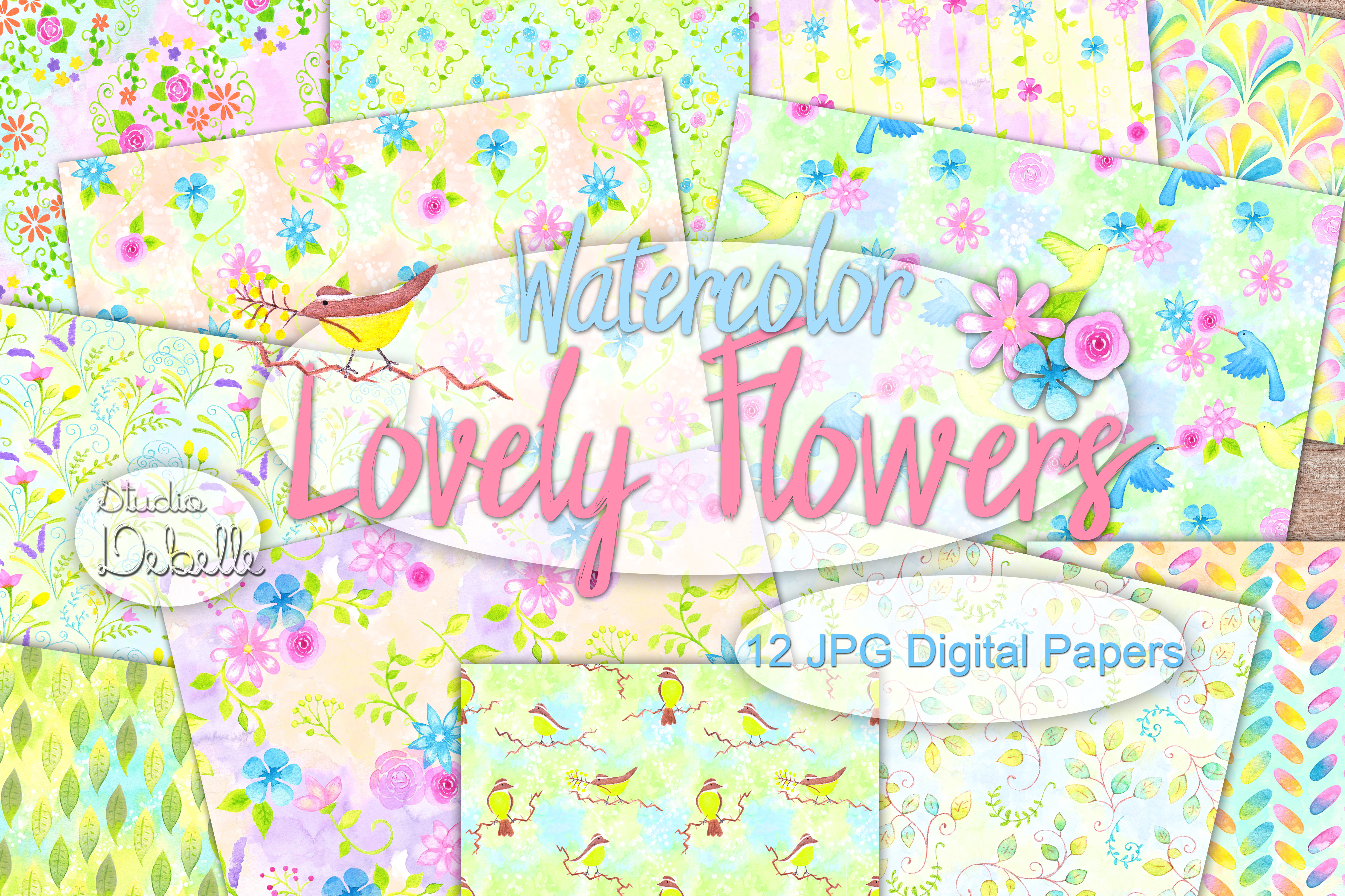Watercolor Lovely Flowers - digital papers seamless patterns example image 1