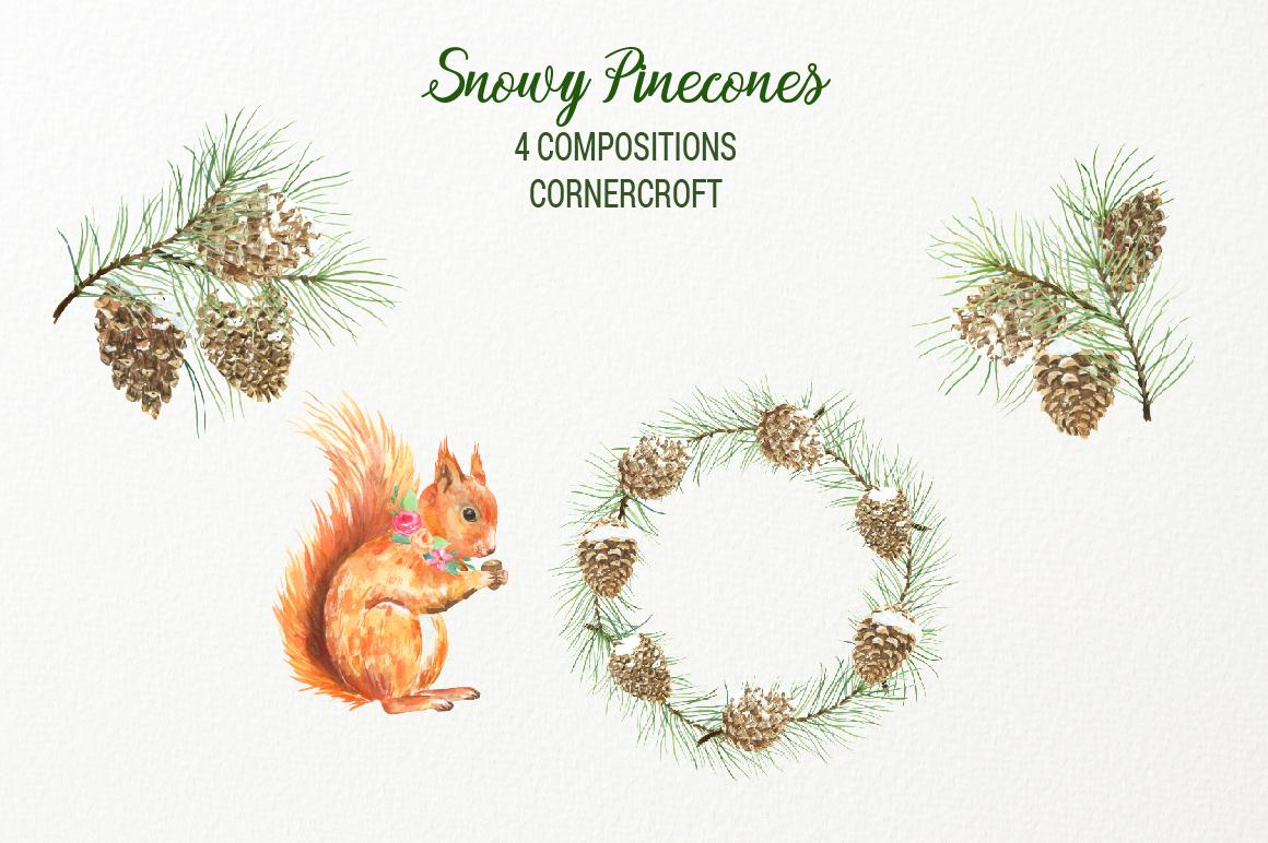 Snowy Pine Cones Watercolor Clipart example image 5
