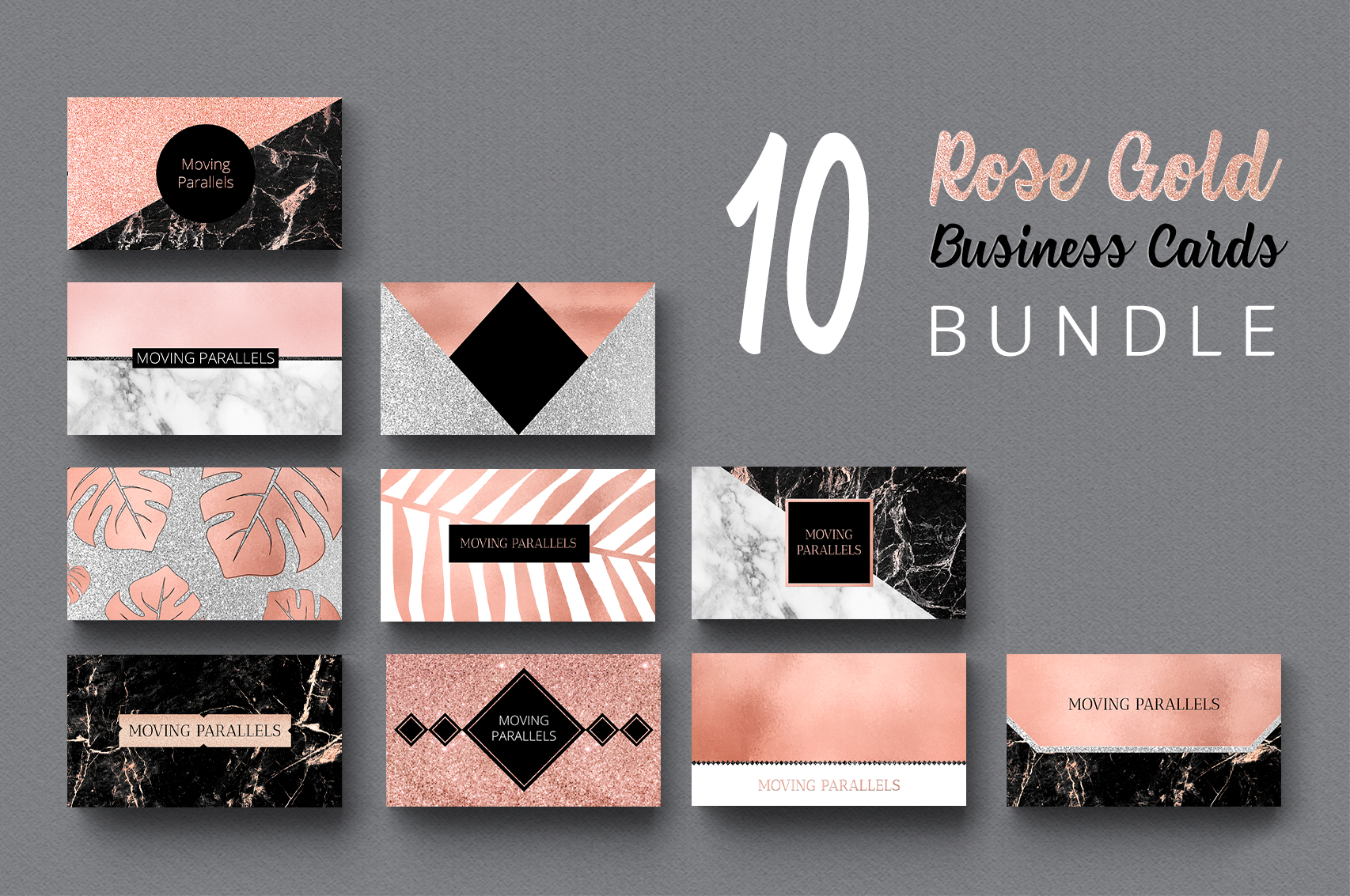 Rose Gold Marble Business Cards Bundle example image 2