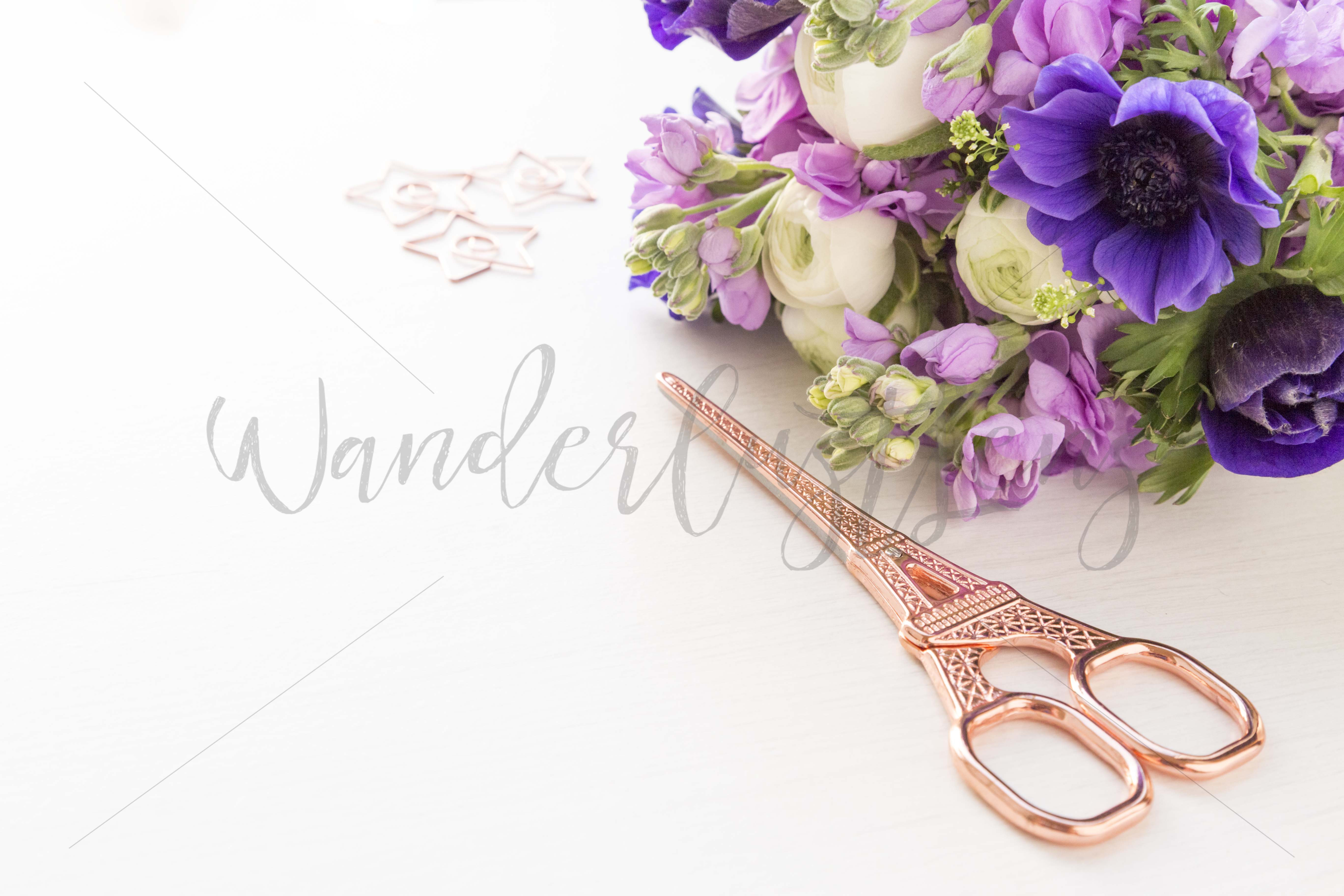 Rose gold with royal blue anamones and purple hyacinths styled desktop bundle of 5 images example image 3