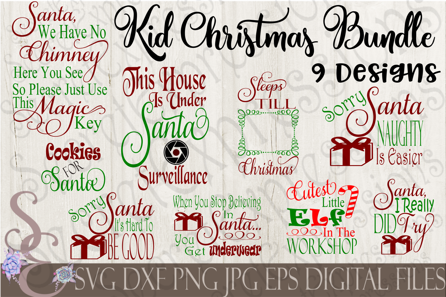 Kid Christmas SVG Bundle 9 Designs example image 1