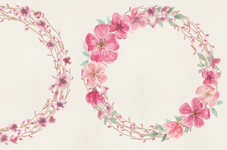 Watercolor wreath of peach blossoms example image 5