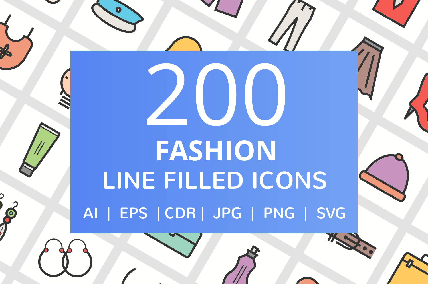 200 Fashion Filled Line Icons example image 1