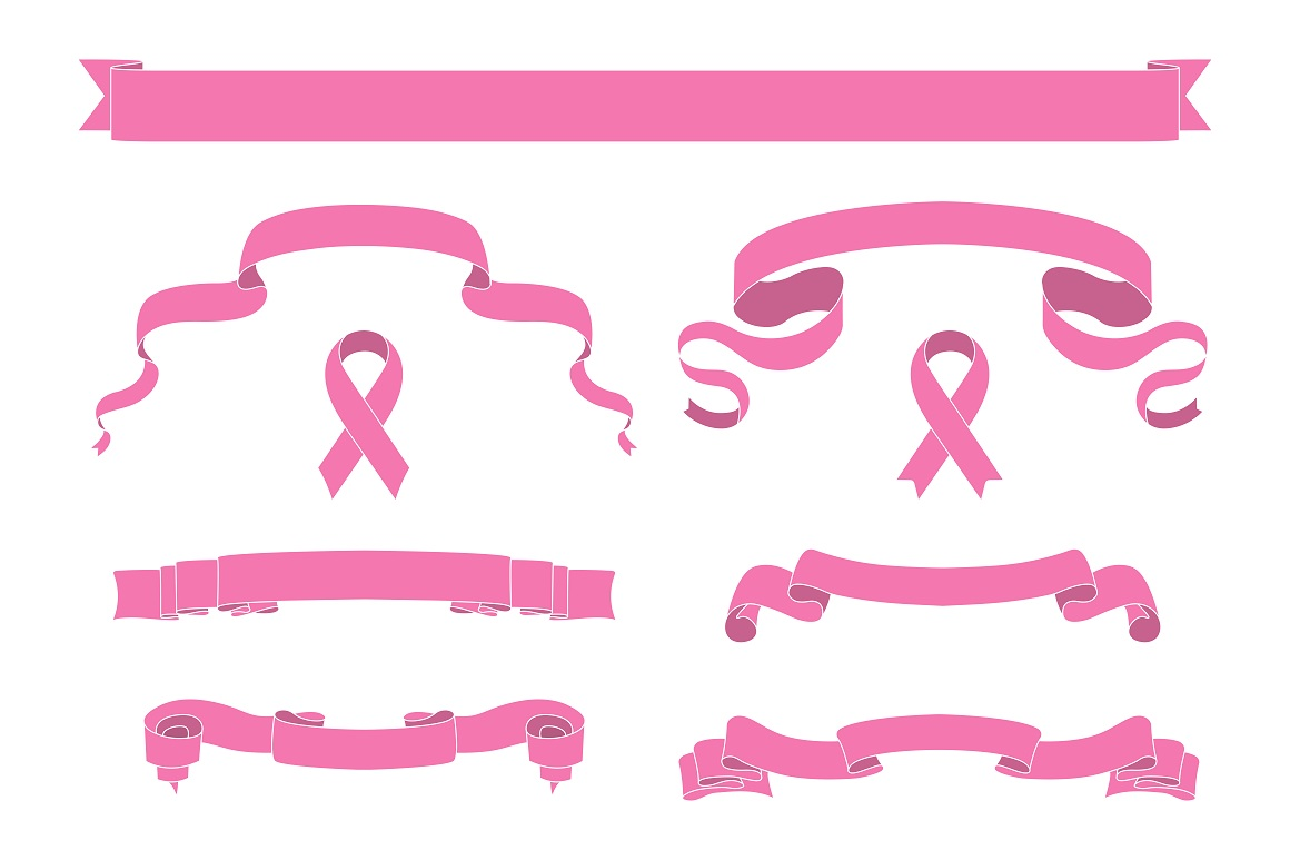 Set of pink beautiful ribbon banners example image 4