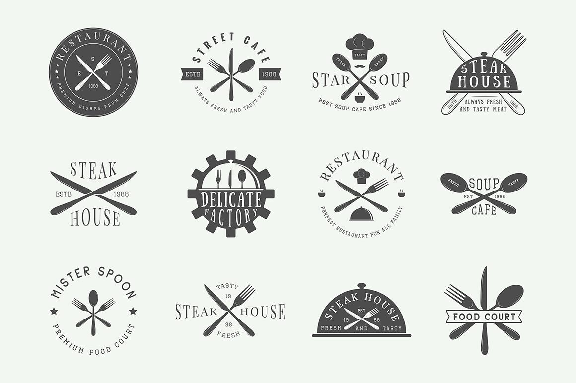 Vintage Restaurant Emblems Bundle example image 5