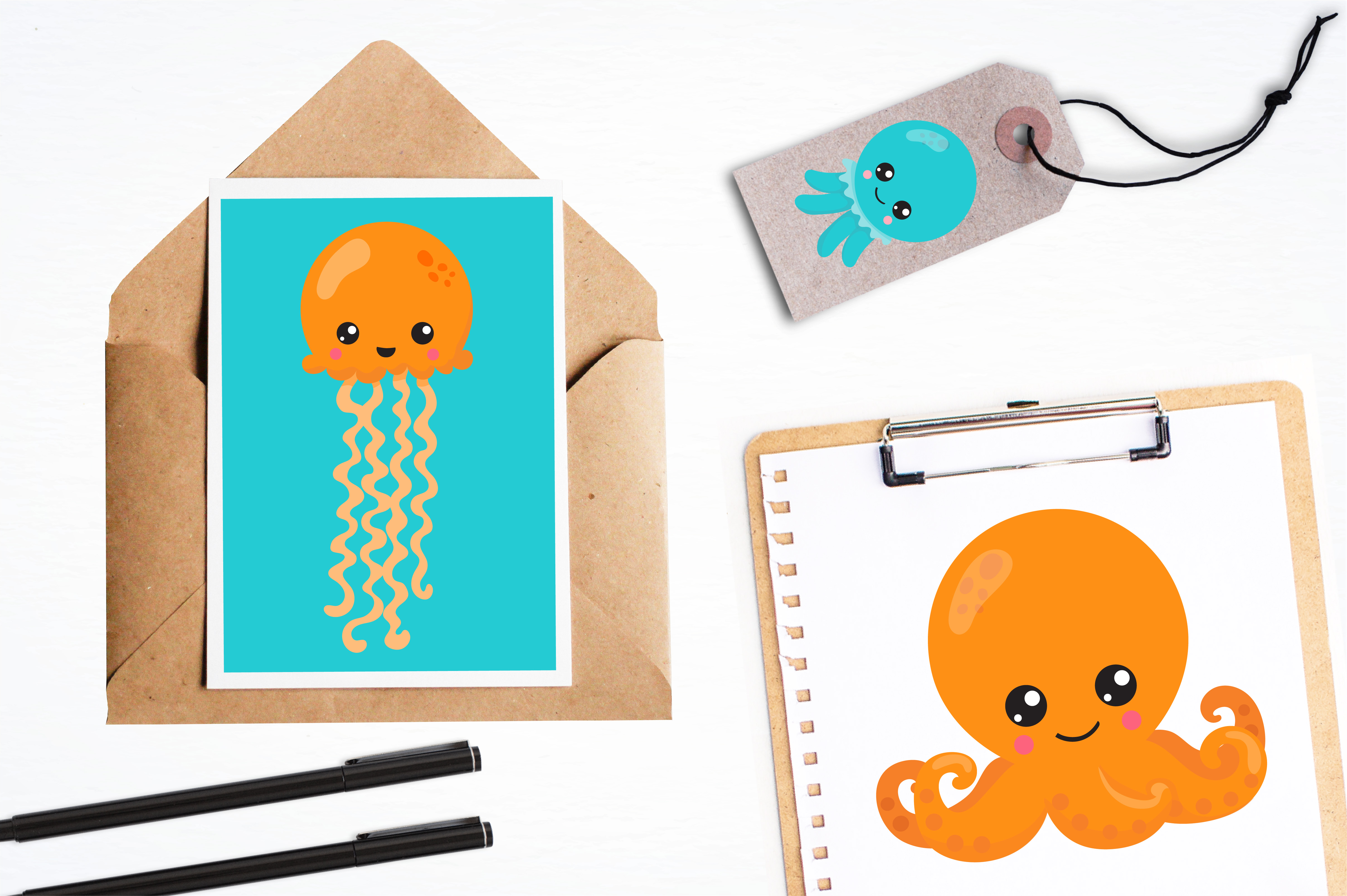 Hipster octopus emoji graphics and illustrations example image 4