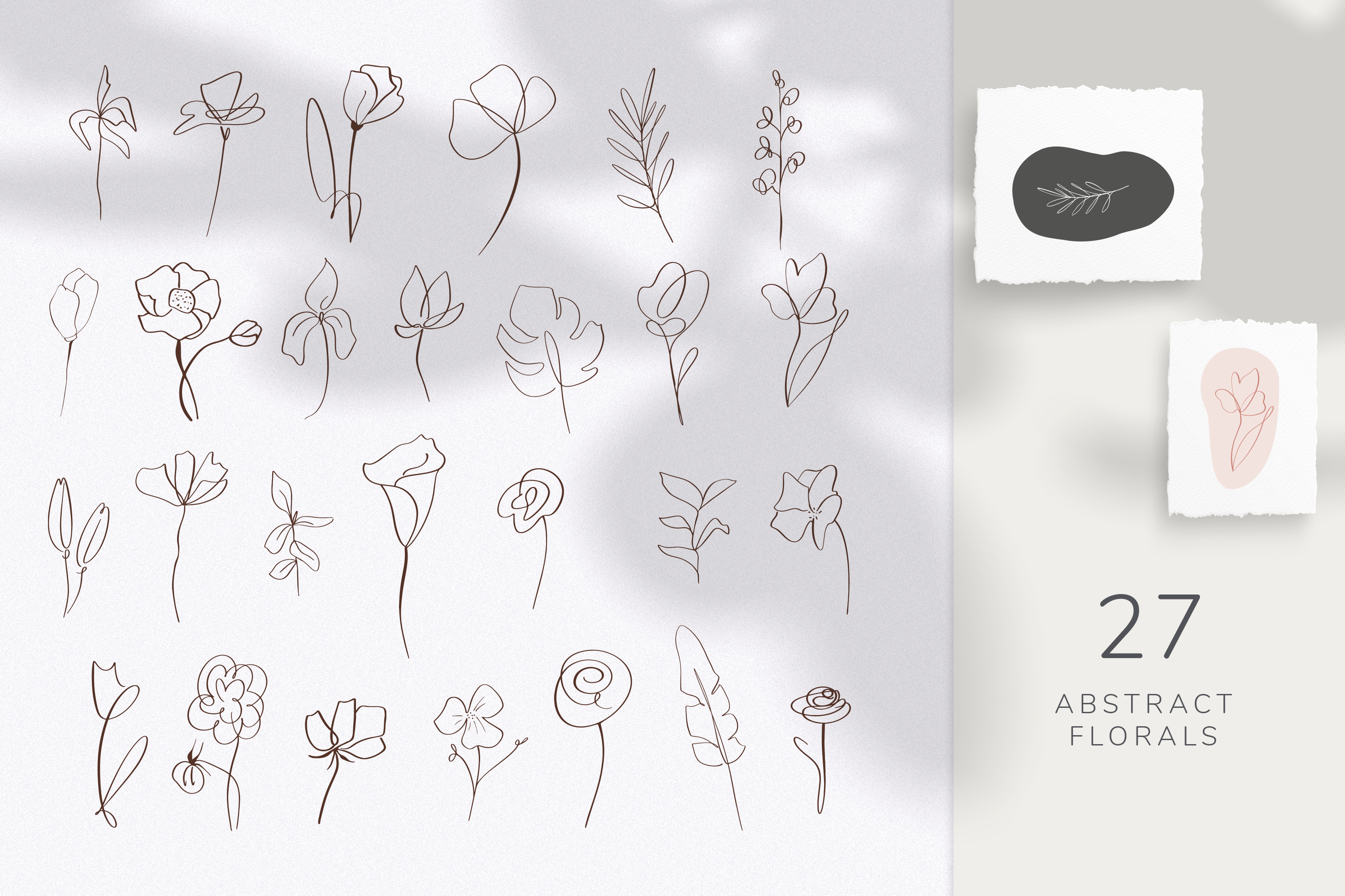 Collection of abstract shapes, lines and floral elements. example image 3