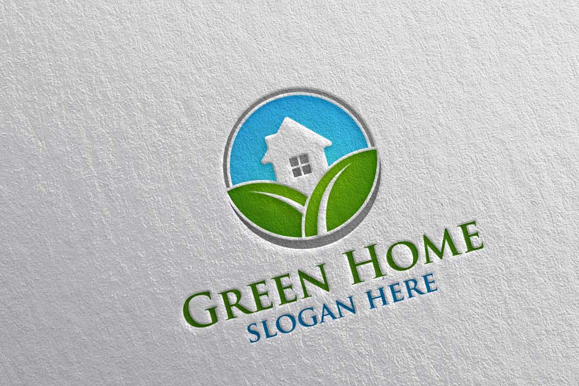 Real estate Logo, Green Home Logo 22 example image 4