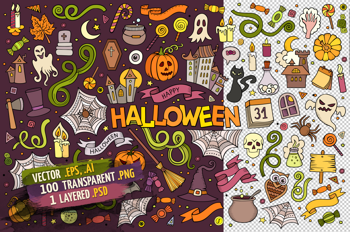 Halloween Objects & Symbols Set example image 2
