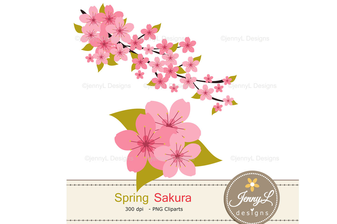 Cherry Blossoms Digital Papers and Sakura Clipart example image 3