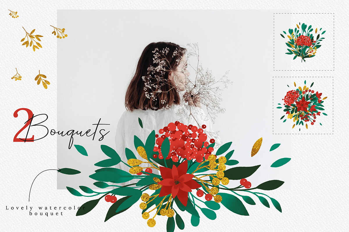 Christmas Watercolor Flowers Clipart Collection example image 8