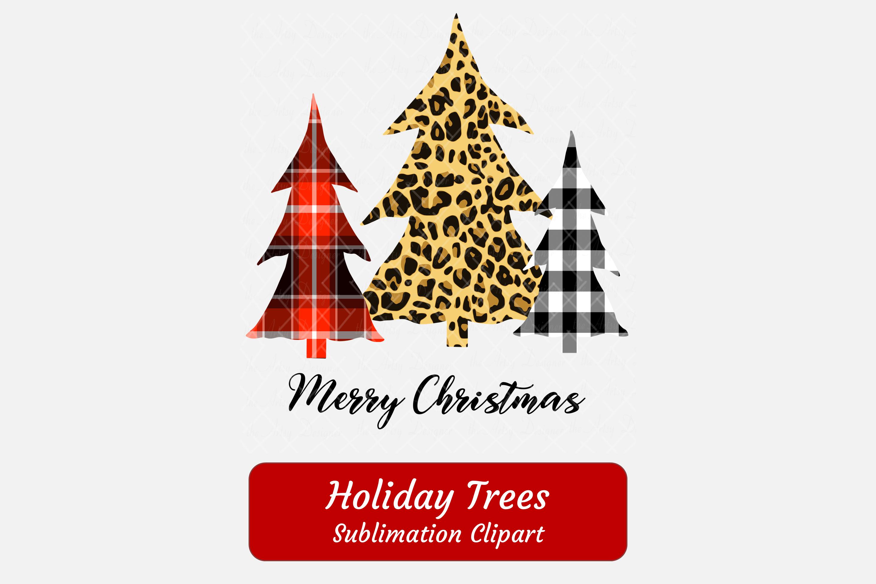 Buffalo Plaid Leopard Print Christmas Trees Sublimation example image 2