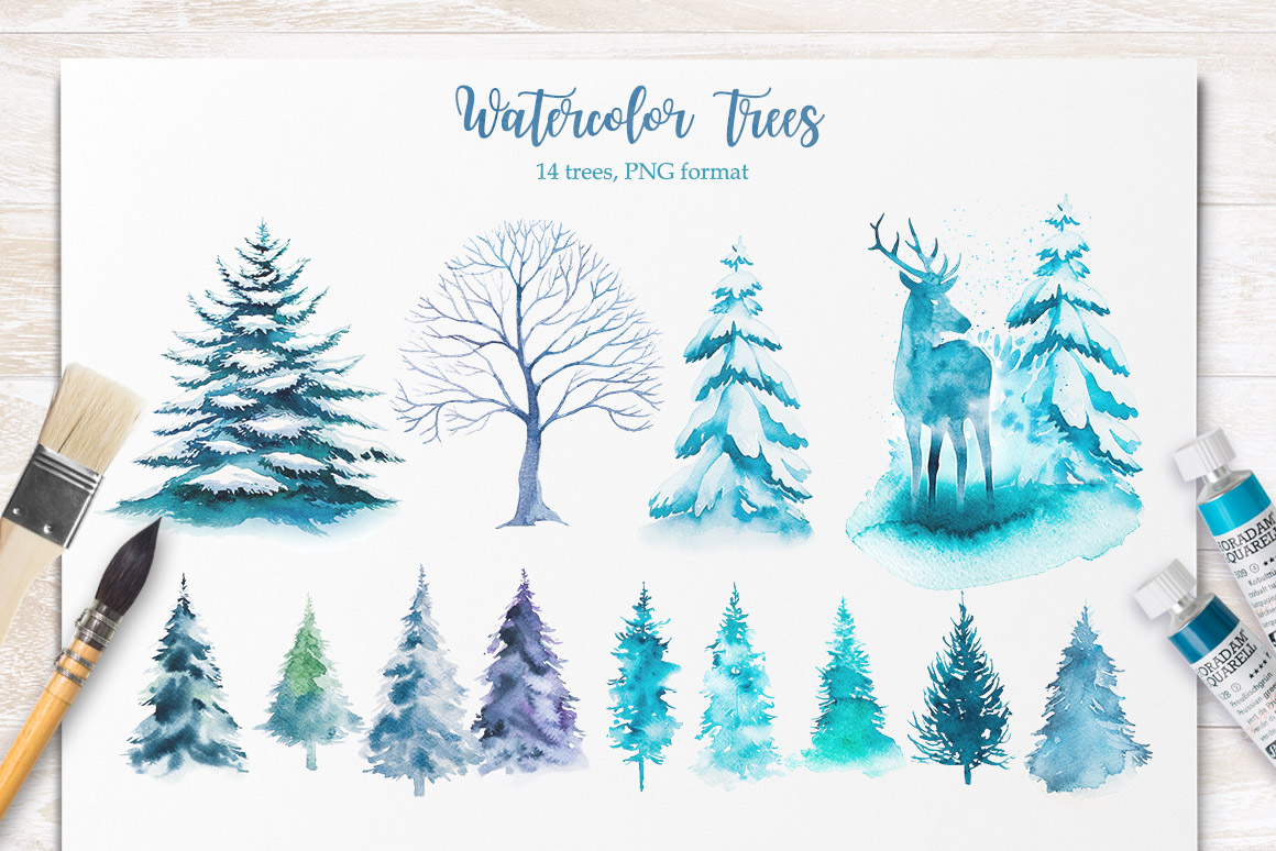 Winter. Watercolor collection. example image 13