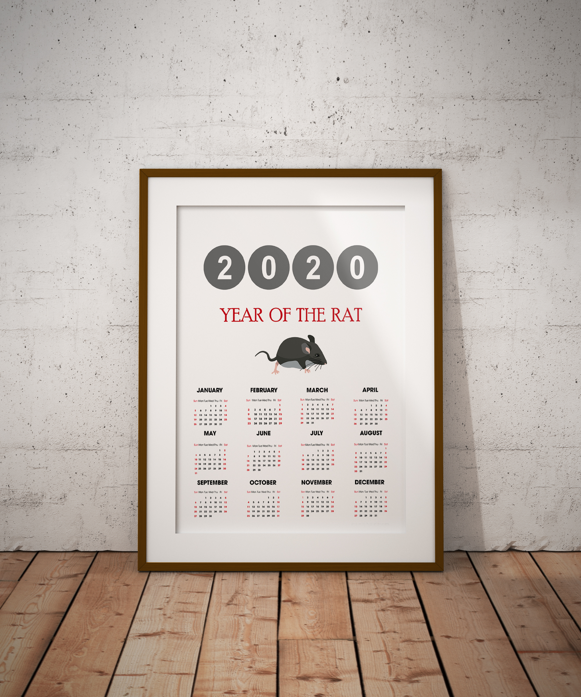 2020 Rat Yearly Calendar example image 3