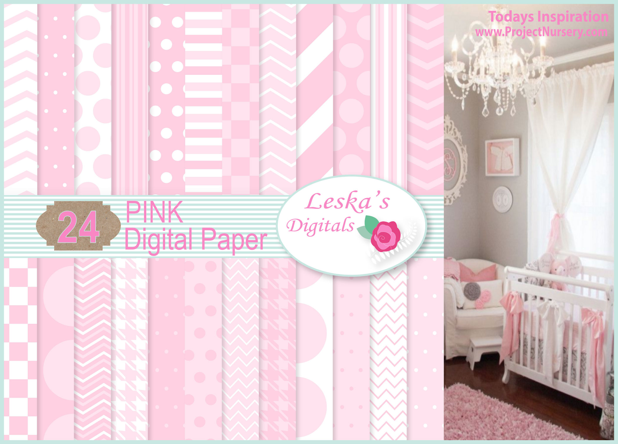 Pink Digital Paper backgrounds example image 1