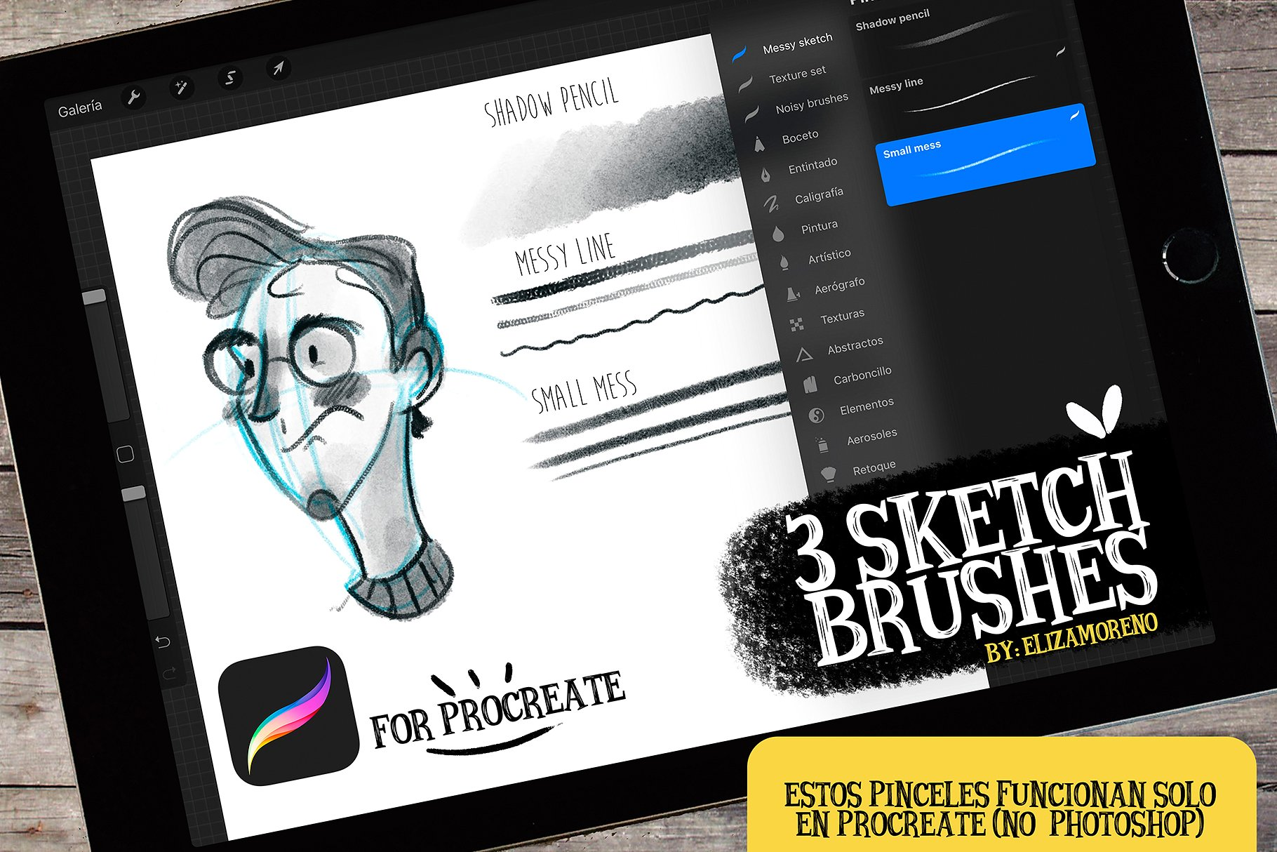 Sketch brushes for PROCREATE example image 1